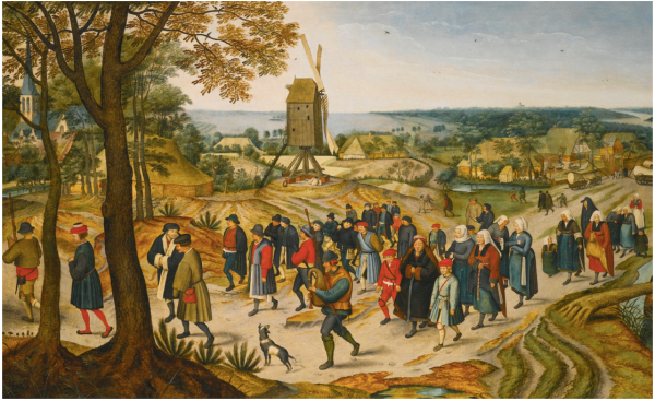 Lot 12. PIETER BRUEGHEL THE YOUNGERBRUSSELS 1564 - 1637/8 ANTWERP A WEDDING PROCESSION Estimate: 2,000,000 - 3,000,000 GBP  signed and dated lower right: .P.BREVGHEL.1627. oil on oak panel 75 by 120.7 cm.; 29 1/2 by 47 1/2 ins.