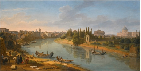 Lot 29. GASPAR VAN WITTEL, CALLED VANVITELLIAMERSFOORT 1652/3 - 1736 ROME ROME, A VIEW OF THE RIVER TIBER AT THE PORTO DELLA LEGNA LOOKING TOWARDS CASTEL SANT'ANGELO, WITH SAINT PETER'S BASILICA IN THE DISTANCE Estimate: 1,200,000 - 1,800,000 GBP  oil on canvas 52 by 102 cm.; 20 1/2  by 40 1/8  in.