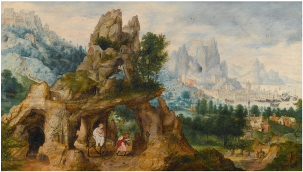 Lot 33. HERRI MET DE BLESBOUVINES CIRCA 1510 - AFTER 1550 ANTWERP (?) AN EXTENSIVE ROCKY LANDSCAPE WITH THE FLIGHT INTO EGYPT Estimate: 300,000 - 500,000 GBP  signed with the owl device lower centre oil on oak panel 44 by 74.3 cm.; 17 ¼ by 19 ¼ in.