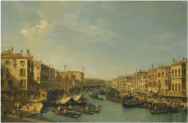 Lot 47. BERNARDO BELLOTTOVENICE 1722 - 1780 WARSAW VENICE, THE GRAND CANAL: LOOKING SOUTH-WEST, FROM THE RIALTO BRIDGE TO THE PALAZZO FOSCARI Estimate: 1,200,000 - 1,800,000 GBP  oil on canvas 60 by 91.5 cm.; 23 5/8  by 36 in.