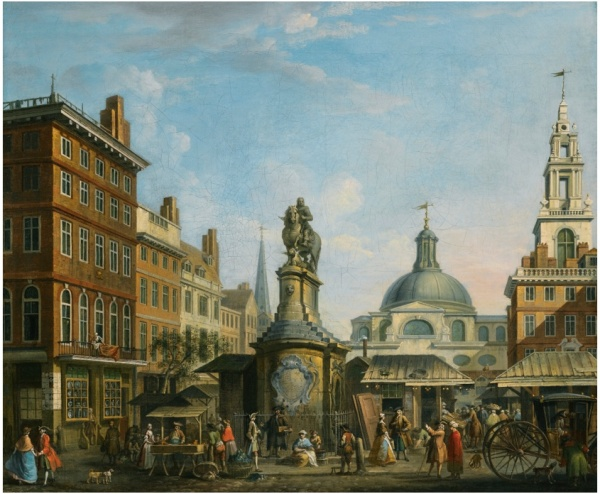 Lot 49. JOSEPH NICKOLLSBRITISH ACTIVE 1726 - 1755 VIEW OF THE STOCKS MARKET, LONDON Estimate: 150,000 - 250,000 GBP  indistinctly dated, centre left: 17... oil on canvas 63.5 by 76 cm.; 25 by 30 in.