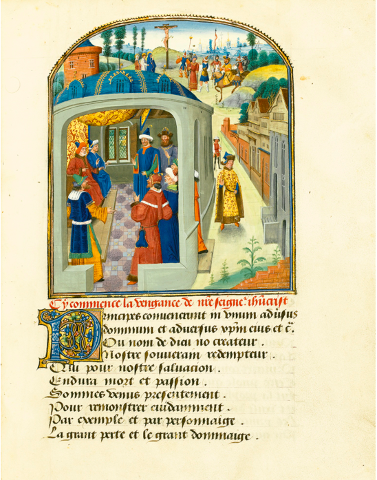 Lot 50. PHILIP THE GOOD'S COPY OF THE MYSTÈRE DE LA VENGEANCE BY EUSTACHE MARCADÉ, A DRAMA ON THE DESTRUCTION OF JERUSALEM BY THE ROMANS, IN FRENCH VERSE, ILLUMINATED MANUSCRIPT ON VELLUM [SOUTHERN NETHERLANDS (HESDIN AND BRUGES), C. 1465]Estimate: 4,000,000 - 6,000,000 GBP