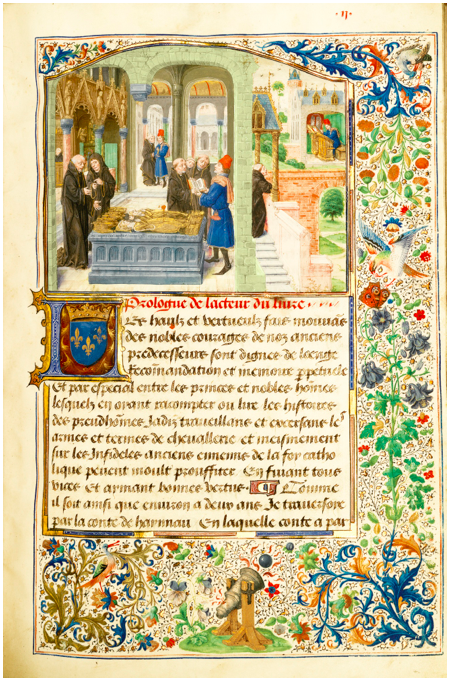 Lot 51. LOUIS DE GRUUTHUSE'S COPY OF THE DEEDS OF SIR GILLION DE TRAZEGNIES IN THE MIDDLE EAST, IN FRENCH, ILLUMINATED MANUSCRIPT ON VELLUM [SOUTHERN NETHERLANDS (ANTWERP OR PERHAPS BRUGES), DATED 1464]Estimate: 3,000,000 - 5,000,000 GBP