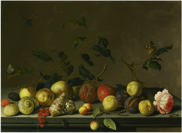Lot 7. BALTHASAR VAN DER ASTMIDDELBURG 1593/94 - 1657 DELFT A STILL LIFE OF FRUIT AND SHELLS WITH A ROSE AND VARIOUS INSECTS UPON A STONE LEDGE Estimate:   300,000 - 400,000 GBP  signed lower right: .B.vander.Ast oil on oak panel 36.5 by 50.5 cm.; 14 3/8  by 19 7/8  in.