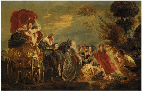Lot 18. Jacob Jordaens (Antwerp 1593-1678) The Meeting of Odysseus and Nausicaa  signed 'JOR·' (lower left)  oil on canvas  46¼ x 76 3/8 in. (117.5 x 194 cm.), including a 15 in. (38 cm.) original extension on the left  Estimate: £500,000 - £800,000