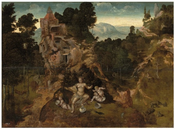 Lot 2. Attributed to the Master of the Liège Disciples at Emmaus, Jan van Amstel? (active Antwerp, mid-16th century)A mountainous landscape with Leda and her hatchlings, Saint Antony Abbot and the Centaur beyond with the Herri Met de Bles owl device (lower centre) and inventory number '707' (lower left) oil on panel  16¼ x 22 1/8 in. (41 x 56.1 cm.)  Estimate: £70,000 - £100,000