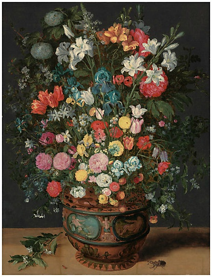 Lot 20. Jan Brueghel II (Antwerp 1601-1678) Lilies, irises, tulips, roses, orchids, primroses, peonies and other flowers in a sculpted vase decorated with the figures of Amphitrite and Ceres, with a branch of flowers, a stag beetle and other insects oil on panel  48½ x 37 in. (123.2 x 94 cm.)  Estimate: £1,000,000 - £1,500,000