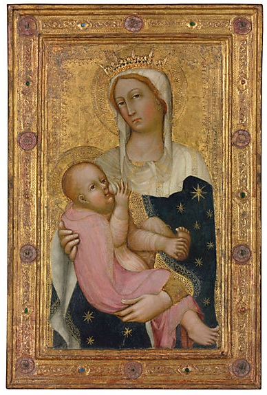 Lot 32. Paolo di Giovanni Fei (San Quirico, Castelvecchio, or Siena c. 1340/5-c. 1411)The Madonna and Child  tempera on panel, in an engaged frame  30½ x 20¼ in. (77.5 x 51.4 cm.)  Estimate: £700,000 - £1,000,000