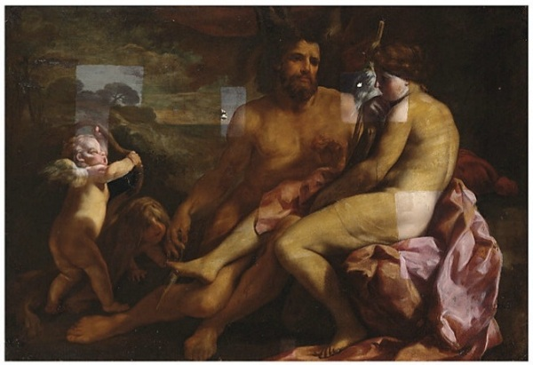 Lot 37. Carlo Cignani (Bologna 1628-1719 Forli) Hercules and Omphale  oil on canvas  55 7/8 x 81¼ in. (141.7 x 206.4 cm.)  Estimate: £120,000 - £180,000