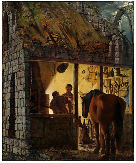 Lot 47. Joseph Wright of Derby (Derby 1734-1797) A Blacksmith's Shop  oil on canvas  30¼ x 25 3/8 in. (76.8 x 64.4 cm.)  Estimate: £400,000 - £600,000