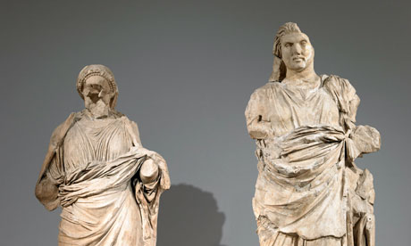 Two marble statues from the Mausoleum of Halicarnassus. Photograph: The Trustees of the British Museum
