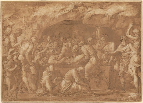Luca PenniItalian, about 1550  Black chalk, pen and brown ink, and brown wash, with white gouache heightening  16 15/16 x 23 5/8 in.  85.GG.235