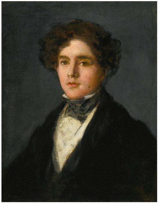 Lot 103. FRANCISCO JOSÉ DE GOYA Y LUCIENTES FUENDETODOS 1746 - 1828 BORDEAUX PORTRAIT OF MARIANO GOYA, THE ARTIST'S GRANDSON inscribed by the artist on the reverse:  Goya á su/ nieto en 1827/ á/ los 81 de su/ edad [Goya, to his grandson, at 81 years old] oil on canvas: 20 1/2  by 16 1/4  in.; 52 by 41.2 cm. Estimate: $6-8 million