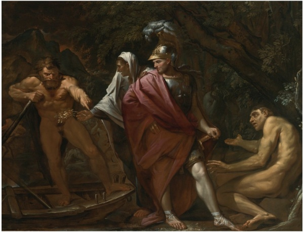 Lot 60. PIETRO TESTALUCCA 1612 - 1650 ROME AENEAS ON THE BANK OF THE RIVER STYX oil on canvas: 62 1/4  by 81 1/8  in.; 158.2 by 206.1 cm. Estimate: $3-5 million
