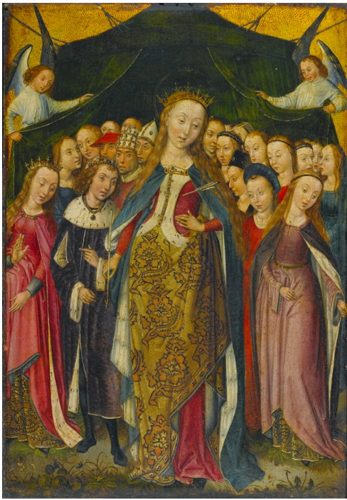 Lot 65. THE MASTER OF THE LEGEND OF SAINT BARBARAACTIVE IN BRUSSELS CIRCA 1470-1500 SAINT URSULA PROTECTING THE ELEVEN THOUSAND VIRGINS WITH HER CLOAK oil on panel: 15 by 10 5/8  in.; 38 by 27 cm. Estimate: $1.5-2.5 million