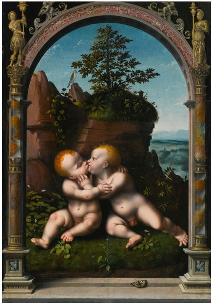 Lot 66. JOOS VAN CLEVECLEVE (?) DATE UNKNOWN - 1540/1 ANTWERP THE INFANT CHRIST AND SAINT JOHN THE BAPTIST AS CHILDREN EMBRACING IN A LANDSCAPE, SURROUNDED BY A CLASSICAL ARCHWAY oil on panel: 41 by 29 1/8  in.; 104 by 74 cm. Estimate: $400,000-600,000