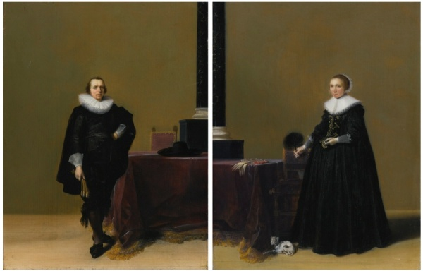 Lot 69. HENDRICK GERRITSZ. POTHAARLEM CIRCA 1585-1657 AMSTERDAM PORTRAITS OF JACOB VAN DE MERCKT AND HIS WIFE PETRONELLA WITSEN a pair, both oil on oak panel: each: 16 1/2  by 13 in.; 41.8 by 32 cm. Estimate: $00,000-600,000