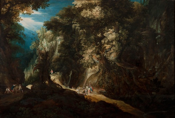 NM7124, Gijsbrecht Leytens, Wooded Mountain Landscape with Waterfall and Travellers, first half of the 17th century.