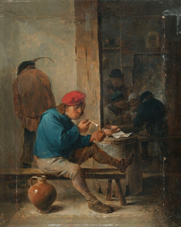 NM7125, David Teniers t.Y., Tavern Interior with Peasant Lighting his Pipe, 1640s.