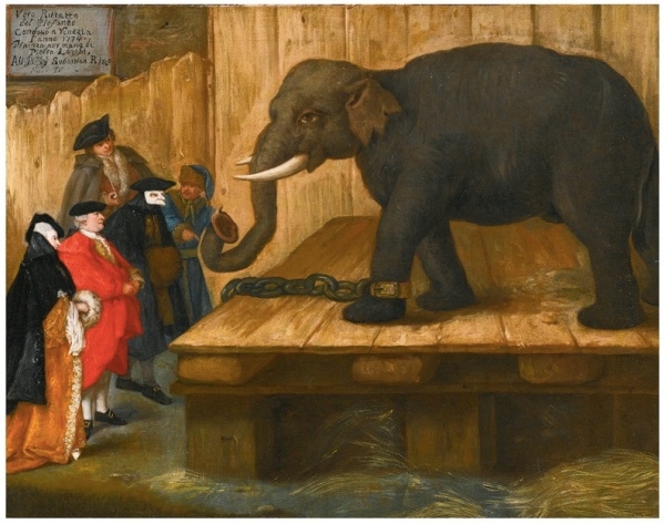 Lot 78. PIETRO LONGHIVENICE 1701- 1785 THE ELEPHANT signed, dated and inscribed on the notice, upper left: Vero Ritratto / del elefante / Condotto a Vanezia / l'anno 1774. / Dipinzo per mano di / Pietro Longhi, / All. Ill.mo Sig.r Sebastian Rizzo / Me(?)o Fs(?)o ~ oil on canvas: 18 3/4  by 24 in.; 47.5 by 61 cm. Estimate: $700,000-900,000