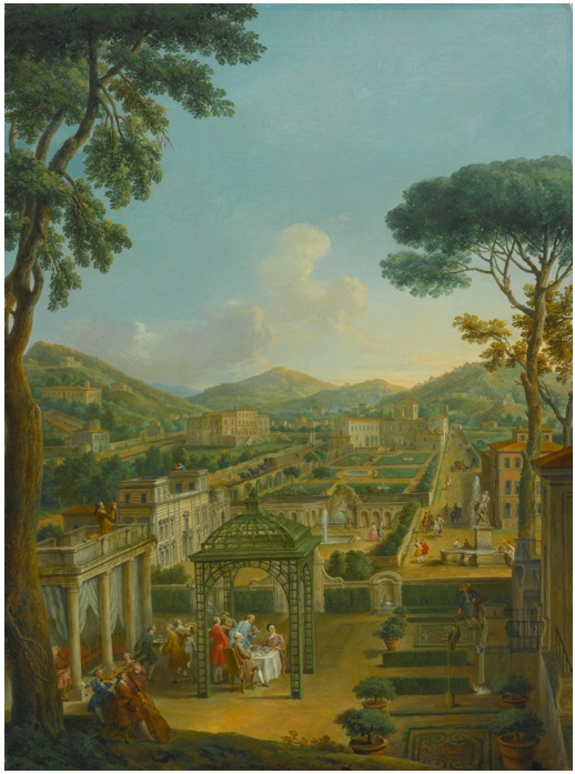 Lot 81. GIOVANNI PAOLO PANINIPIACENZA 1691 - 1765 ROME AN EXTENSIVE LANDSCAPE WITH VILLAS AND FIGURES, INCLUDING THE ARTIST HIMSELF, DINING BENEATH A PERGOLA IN THE FOREGROUND oil on canvas: 51 1/4  by 38 1/4  in.; 130 by 97 cm. Estimate: $2-3 million