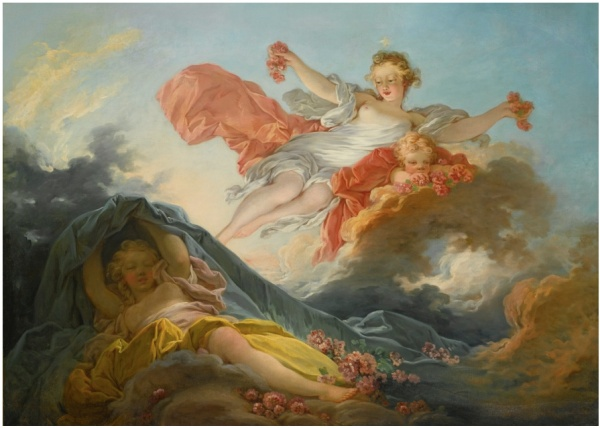 Lot 84. JEAN-HONORÉ FRAGONARDGRASSE 1732 - 1806 PARIS THE GODDESS AURORA  TRIUMPHING OVER NIGHT oil on canvas: 37 1/2 by 51 3/4 in.; 95.2 by 131.5 cm. Estimate: $1.8-2.5 million