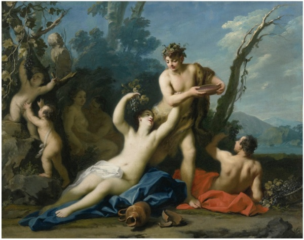 Lot 85 (2 of 2). JACOPO AMIGONINAPLES 1682 - 1752 MADRID BACCHUS AND ARIADNE; VENUS AND ADONIS both, oil on canvas each: 41 by 50 3/4 in.; 104.1 by 129 cm. Estimate: $2-3 million