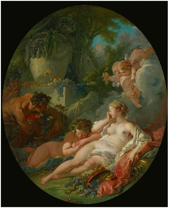 Lot 91. FRANÇOIS BOUCHERPARIS 1703 - 1770 SLEEPING BACCHANTES SURPRISED BY SATYRS signed and dated on the pedestal of the urn at center left: F. Boucher/1760 oil on canvas: 30 1/2  by 25 in.; 77.5 by 63.5 cm. Estimate: $2-3 million