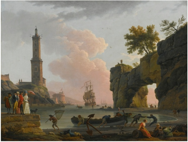 Lot 95. CLAUDE-JOSEPH VERNETAVIGNON 1714 - 1789 PARIS MEDITERRANEAN HARBOR AT SUNSET WITH THE ARTIST, HIS DAUGHTER EMILIE CHALGRIN, HIS SON CARLE VERNET, HIS DAUGHTER-IN-LAW, FANNY MOREAU, AND HIS SERVANT SAINT-JEAN, ON A PIER, A LIGHTHOUSE AND A NATURAL ARCH BEYOND signed and dated, lower left: j. vernet / F. 1788 oil on canvas: 34 1/4  by 43 3/4  in.; 87 by 113.6 cm. Estimate: $2-3 million