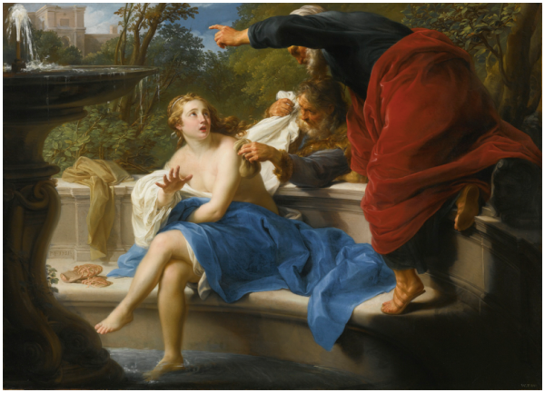 Lot 73. POMPEO BATONILUCCA 1708 - 1787 ROME SUSANNA AND THE ELDERS signed and dated lower left on wall: P.B. 1751 and inscribed with an inventory number at lower right: W.F. 227 oil on canvas: 39 by 53 1/2  in.; 99 by 136 cm. Estimate: $6-9 million