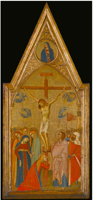 Lot 15. MASTER OF THE PIETÀACTIVE IN SIENA IN THE MID-FOURTEENTH CENTURY THE CRUCIFIXION tempera on panel, gold ground, with a shaped top 22 1/4  by 9 7/8  in.; 56.5 by 25 cm. Estimate: $800,000-1,200,000