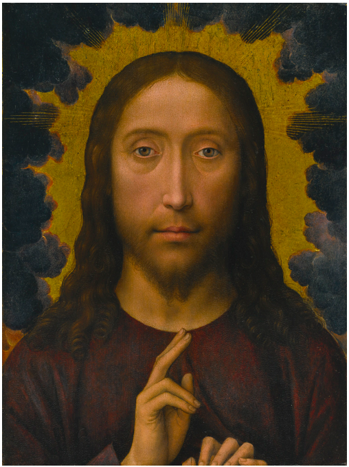 Lot 10. HANS MEMLINGSELIGENSTADT 1430/40 - 1494 BRUGES CHRIST BLESSING oil on Baltic oak panel 13 1/2  by 10 1/2  in.; 34.4 by 31.7 cm. Estimate: $1-1.5 million