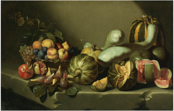 Lot 29. ROMAN SCHOOL, CIRCA 1605-1610STILL LIFE WITH FRUIT ON A STONE LEDGE oil on canvas 34 1/4  by 53 1/4  in.; 87.2 by 135.4 cm. Estimate: $2-3 million