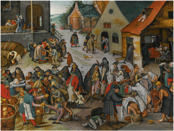 Lot 36. PIETER BRUEGHEL THE YOUNGERBRUSSELS 1564 - 1637/8 ANTWERP THE SEVEN ACTS OF MERCY signed lower right: P. BREVGHEL oil on panel 16 1/2  by  22 in.; 42.2 by 56.2 cm. Estimate: $2-3 million