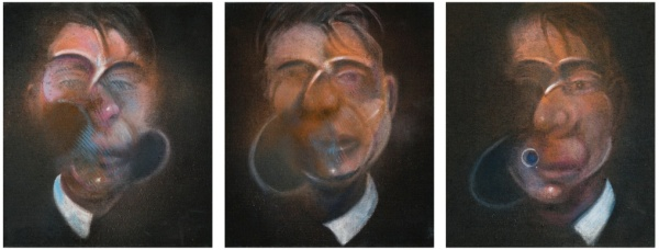 Lot 11. FRANCIS BACON1909 - 1992 THREE STUDIES FOR A SELF-PORTRAIT each: signed, titled and dated 1980 on the reverse oil on canvas each: 35.5 by 30cm., 14 by 12in. Estimate: £10-15 million.