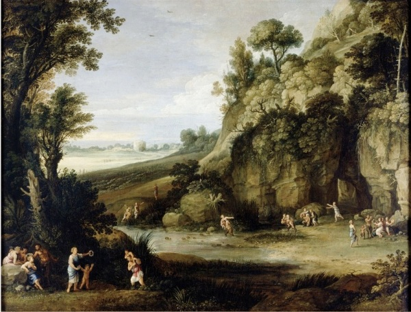 Mythological Landscape with Nymphs and Satyrs by Paul Bril, 1602-1660.Oil on canvas Dimensions: 70.6 x 92.8cm.