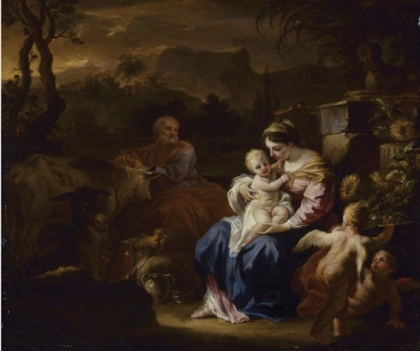 The Rest on the Flight into Egypt, circa 1695.Oil on copper Dimensions: 32.3 x 38.9cm.