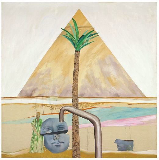 Lot 12. David Hockney (b. 1937) Great Pyramid at Giza with Broken Head from Thebes  oil on canvas: 72 x 72in. (183 x 183cm.)  Painted in 1963 Estimate: £2,500,000 - £3,500,000 ($3,912,500 - $5,477,500)