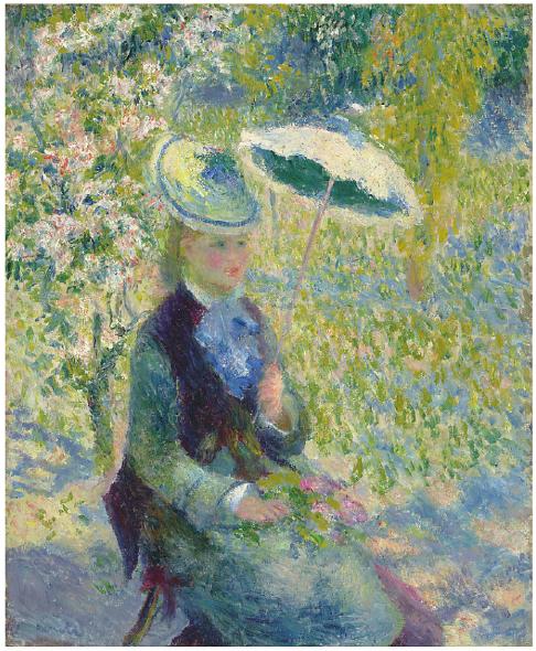 Sotheby's, Lot 13. Pierre-Auguste Renoir (1841-1919) L'ombrelle  signed 'Renoir' (lower left)  oil on canvas: 24 3/8 x 20 in. (61.9 x 50.8 cm.)  Painted in 1878  Estimate: £4,000,000 - £7,000,000 ($6,344,000 - $11,102,000)