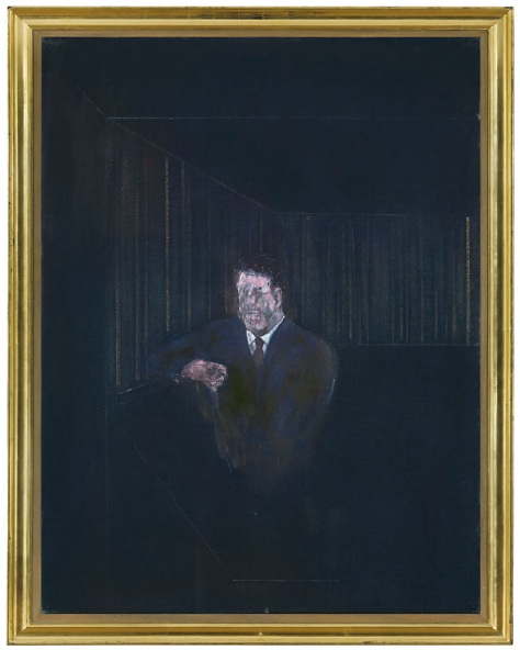 Lot 15. Lot DescriptionFrancis Bacon (1909-1992)  Man in Blue VI  oil on canvas: 60 1/8 x 46in. (152.7 x 116.8cm.)  Painted in 1954 Estimate: £4,000,000 - £6,000,000 ($6,260,000 - $9,390,000)