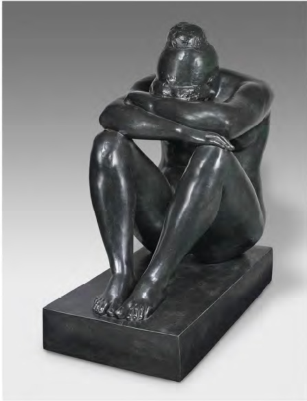 Lot 23. Aristide Maillol (1861-1944) La nuit, première état  signed with the monogram (on the underside of the left thigh), numbered and inscribed with the foundry mark '4/6 E.GODARD Fondeur PARIS' (on the back of the base) bronze with black patina  Height: 45¾ in. (116.2 cm.)  Conceived in 1902 and cast at a later date in a numbered edition of six plus four épreuvres d'artiste and two casts hors commerce Estimate: £1,000,000 - £1,500,000 ($1,572,000 - $2,358,000)