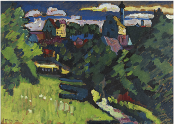 Sotheby's, Lot 26. Wassily Kandinsky (1866-1944) Murnau - Ansicht mit Burg, Kirche und Eisenbahn  signed and dated 'KANDINSKY 1909' (lower left)  oil on cardboard laid down on board: 18 7/8 x 27 1/8 in. (48 x 69 cm.)  Painted in 1909 Estimate: £5,000,000 - £7,000,000 ($7,930,000 - $11,102,000)