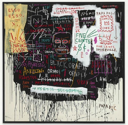 Lot 30. Jean-Michel Basquiat (1960-1988) Museum Security (Broadway Meltdown)  acrylic, oilstick and paper collage on canvas: 84 x 84 in. (213.4 x 213.4 cm.)  Painted in 1983 Estimate: £7,000,000 - £9,000,000 ($10,955,000 - $14,085,000)