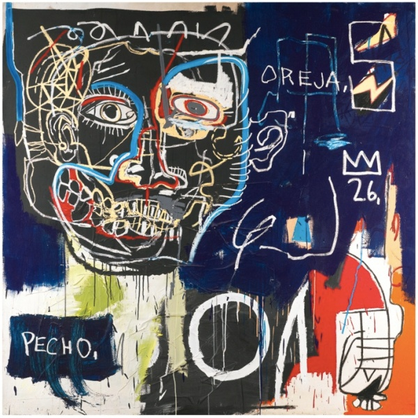 Lot 31. JEAN-MICHEL BASQUIAT1960 - 1988 UNTITLED (PECHO/OREJA) acrylic, oil stick and paper collage on canvas 183 by 183cm., 72 by 72in. Executed in 1982-83. Estimate: £7-9 million.