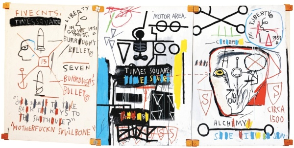 Lot 35. JEAN-MICHEL BASQUIAT1960 - 1988 FIVE FISH SPECIES signed, titled and dated 1983 on the reverse acrylic and oilstick on canvas mounted on wood supports 168 by 357cm., 66 7/8 by 140 1/2 in. Estimate: £4.25-6.25 million.