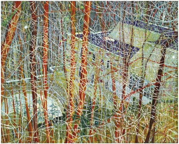 "Lot 9. Peter Doig (b. 1959) The Architect's Home in the Ravine  signed, titled and dated '""THE ARCHITECTS HOME IN THE RAVINE"" PETER DOIG 1991' (on the reverse) oil on canvas: 78 7/8 x 98¾in. (200 x 250cm.)  Painted in 1991  Estimate: £4,000,000 - £6,000,000 ($6,260,000 - $9,390,000)"