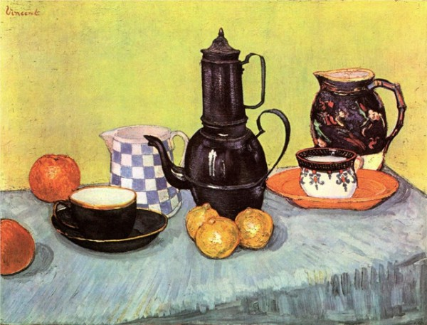 """Still Life: Coffee Pot"" by Vincent Van Gogh. It is among the paintings that belonged to Basil and Elise Goulandris and was exhibited in 1999 at the Museum of Contemporary Art in Andros."