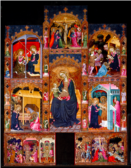 Altarpiece of the Virgin, The Master of Torralba. Tempera on panel, 366 x 279.3 x 12 cm. First half of the 15th century, Madrid, Museo Nacional del Prado. Várez Fisa Donation.