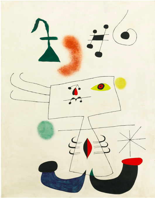 Sotheby's, Lot 26. JOAN MIRÓ1893 - 1983 FEMME RÊVANT DE L'ÉVASION signed Miró, titled and dated 1.2.1945 on the reverse oil on canvas: 146 by 114cm., 57 1/2 by 44 7/8 in. Painted on 1st February 1945. Estimate: 8-12 million.