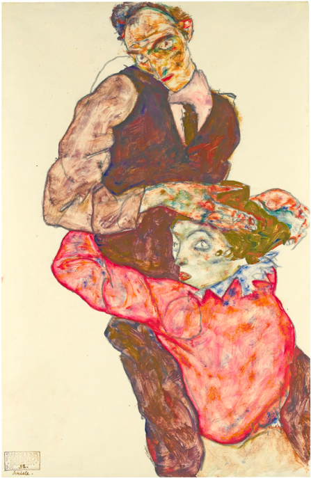 Sotheby's, Lot 6. EGON SCHIELE1890 - 1918 LIEBESPAAR (SELBSTDARSTELLUNG MIT WALLY) (LOVERS - SELF-PORTRAIT WITH WALLY) marked with the collector's stamp Sammlung Heinrich Böhler, inscribed Schiele and numbered No. 32 by another hand (lower left); stamped Nachlass Egon Schiele on the reverse gouache and pencil on paper: 47.4 by 30.5cm., 18 5/8 by 12in. Executed in 1914 or 1915. Estimate: 6.5-8.5 million.